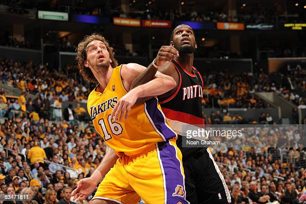 Pau Gasol of the Los Angeles Lakers and Greg Oden of the Portland Trail Blazers box out against each other during their game at Staples Center on...
