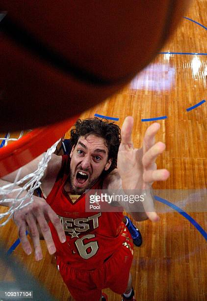 Pau Gasol of the Los Angeles Lakers and the Western Conference goes up for a shot in the 2011 NBA AllStar Game at Staples Center on February 20 2011...