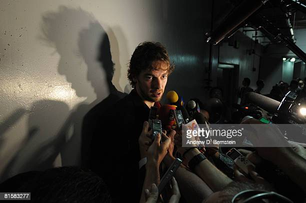 Pau Gasol of the Los Angeles Lakers answers questions from the media following his team's victory over the Boston Celtics in Game Five of the 2008...