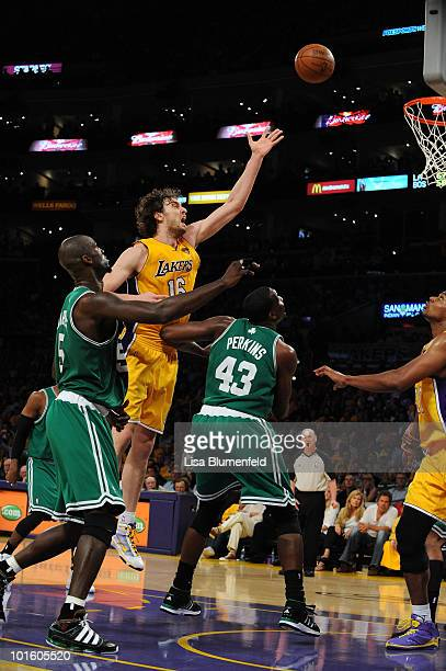 Pau Gasol of the Los Angeles Lakers attempts a shot against the Boston Celtics in Game One of the 2010 NBA Finals at Staples Center on June 3 2010 in...