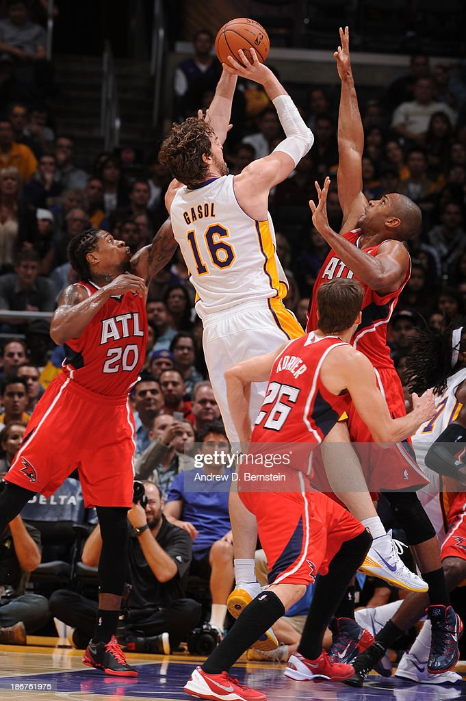 Pau Gasol #16 of the Los Angeles Lakers attempts a shot during a game against the Atlanta Hawks on November 3, 2013 at STAPLES Center in Los Angeles, California.