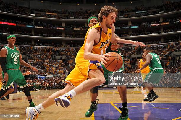 Pau Gasol of the Los Angeles Lakers drives against Rasheed Wallace of the Boston Celtics in Game Seven of the 2010 NBA Finals on June 17, 2010 at...