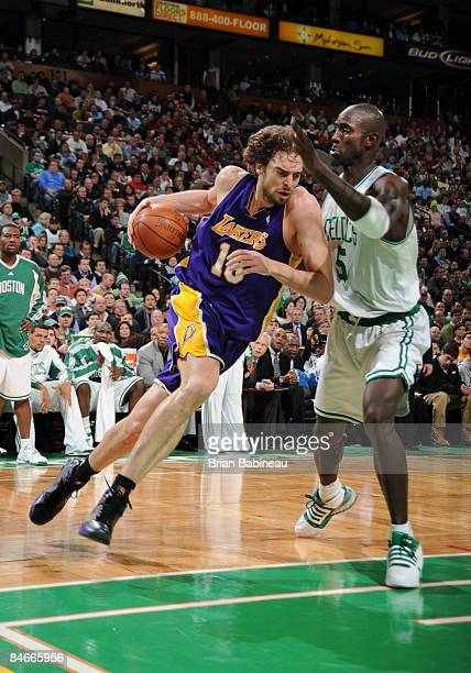 Pau Gasol of the Los Angeles Lakers drives to the basket against Kevin Garnett of the Boston Celtics on February 5 2009 at the TD Banknorth Garden in...