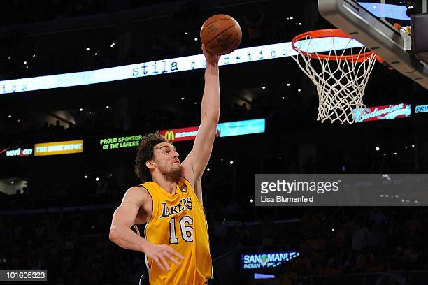 Pau Gasol of the Los Angeles Lakers dunks against the Boston Celtics in Game One of the 2010 NBA Finals at Staples Center on June 3 2010 in Los...