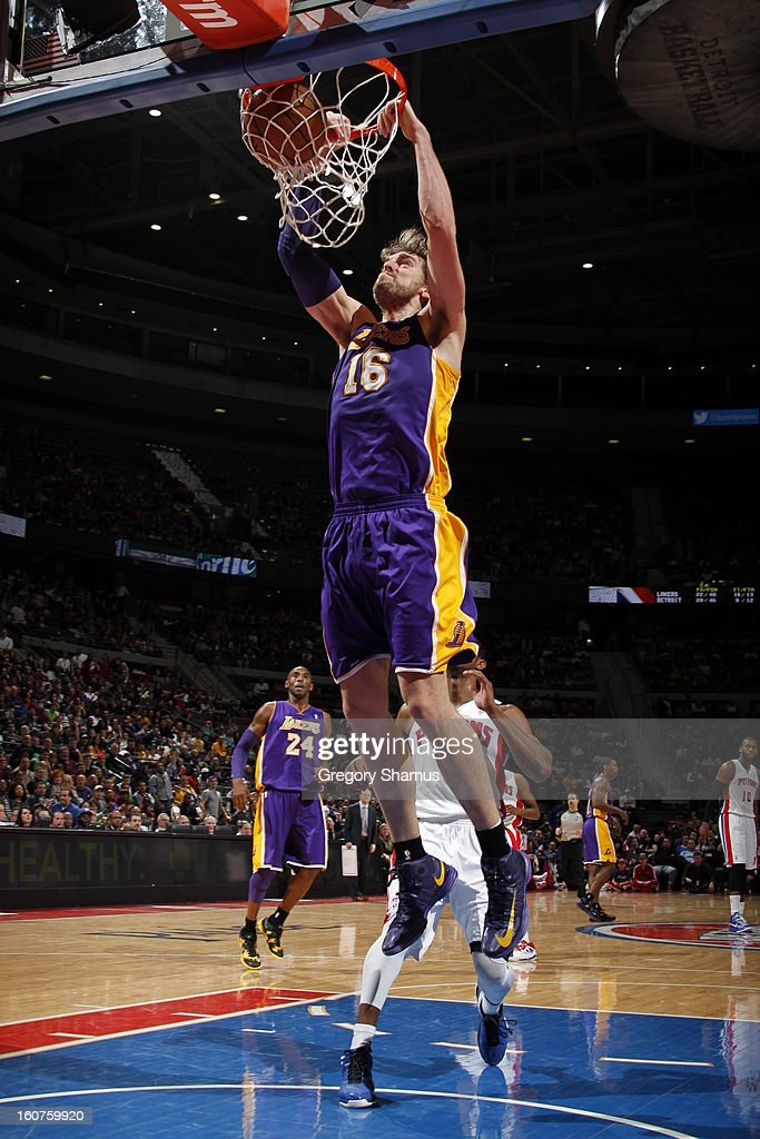 Pau Gasol #16 of the Los Angeles Lakers dunks the ball against the Detroit Pistons on February 3, 2013 at The Palace of Auburn Hills in Auburn Hills, Michigan.