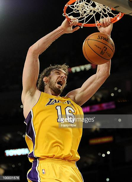 Pau Gasol of the Los Angeles Lakers dunks the ball against the Phoenix Suns in Game Two of the Western Conference Finals during the 2010 NBA Playoffs...