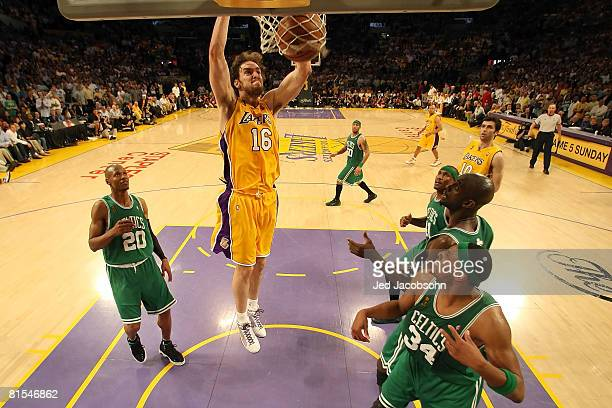 Pau Gasol of the Los Angeles Lakers dunks the ball in front of Ray Allen of the Boston Celtics in Game Four of the 2008 NBA Finals on June 12 2008 at...