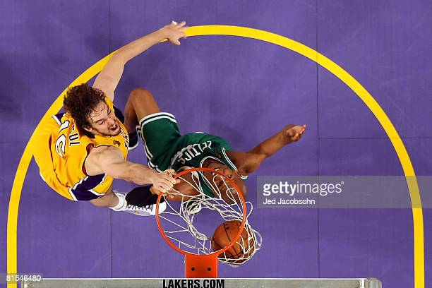 Pau Gasol of the Los Angeles Lakers dunks the ball over Ray Allen of the Boston Celtics in the first half of Game Four of the 2008 NBA Finals on June...