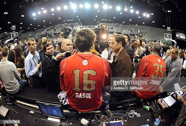 Pau Gasol of the Los Angeles Lakers during media availability after the East West AllStar Practice on center Court at Jam Session presented by Adidas...