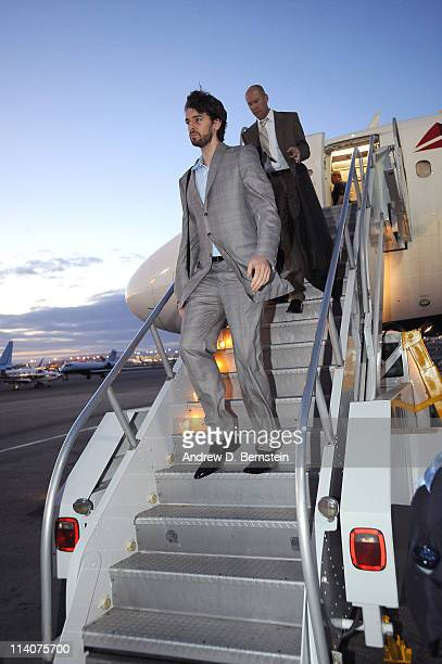 Pau Gasol of the Los Angeles Lakers exits the plane arriving from Dallas following Game Four of the Western Conference Semifinals in the 2011 NBA...
