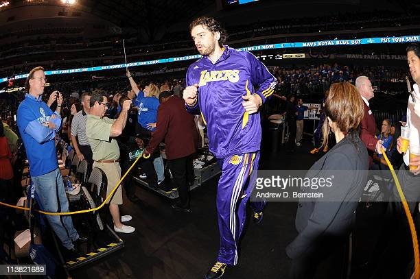Pau Gasol of the Los Angeles Lakers gets ready to take on the Dallas Mavericks in Game Three of the Western Conference Semifinals in the 2011 NBA...