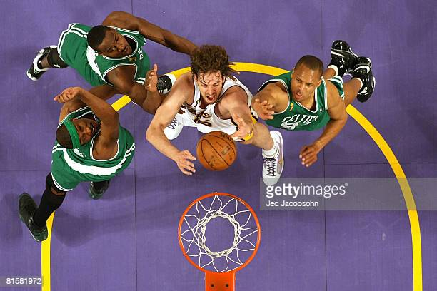 Pau Gasol of the Los Angeles Lakers goes to the basket past James Posey Tony Allen and PJ Brown of the Boston Celtics in Game Five of the 2008 NBA...
