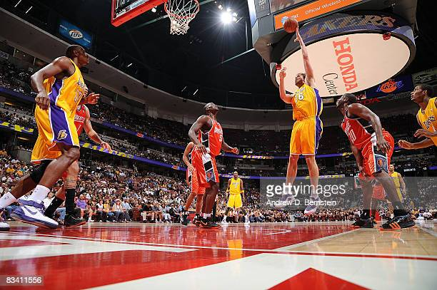 Pau Gasol of the Los Angeles Lakers goes up for a shot against the Charlotte Bobcats during the game on October 23 2008 at Honda Center in Anaheim...