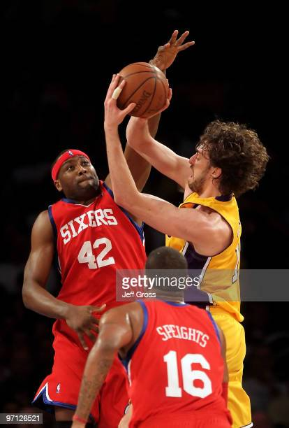 Pau Gasol of the Los Angeles Lakers is defended by Elton Brand of the Philadelphia 76ers in the first half at Staples Center on February 26 2010 in...