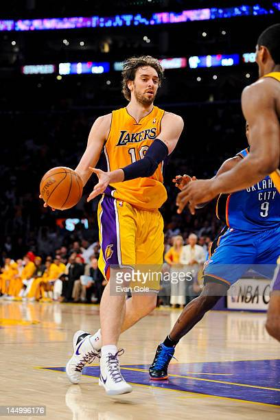 Pau Gasol of the Los Angeles Lakers passes the ball against the Oklahoma City Thunder in Game Four of the Western Conference Semifinals during the...