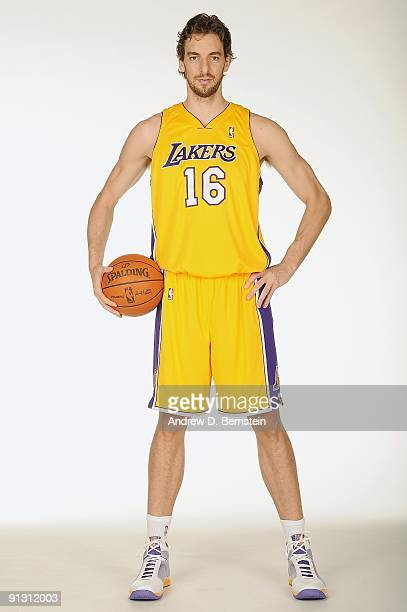 Pau Gasol of the Los Angeles Lakers poses for a portrait during 2009 NBA Media Day on September 29, 2009 at Toyota Sports Center in El Segundo,...