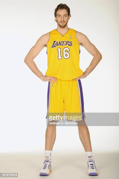 Pau Gasol of the Los Angeles Lakers poses for a portrait during 2009 NBA Media Day on September 29 2009 at Toyota Sports Center in El Segundo...