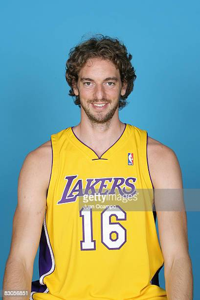 Pau Gasol of the Los Angeles Lakers poses for a portrait during NBA Media Day on September 29 2008 at the Toyota Sports Center in El Segundo...