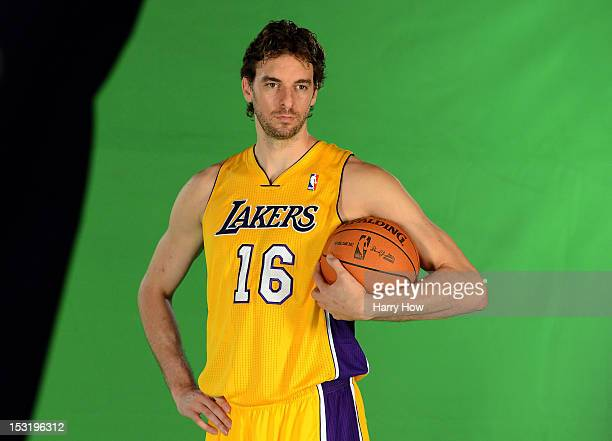 Pau Gasol of the Los Angeles Lakers poses for the media during Media Day at Toyota Sports Center on October 1 2012 in El Segundo California