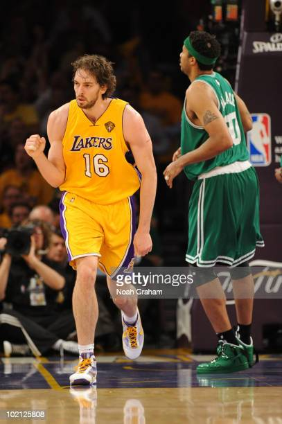 Pau Gasol of the Los Angeles Lakers pumps his fist against Rasheed Wallace of the Boston Celtics in Game Six of the 2010 NBA Finals on June 15, 2010...