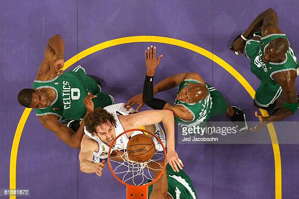 Pau Gasol of the Los Angeles Lakers puts a shot up over Leon Powe Ray Allen and Kevin Garnett of the Boston Celtics in Game Five of the 2008 NBA...