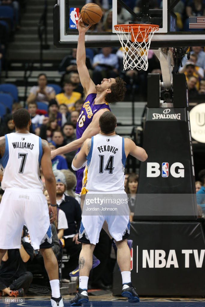 Pau Gasol #16 of the Los Angeles Lakers puts up a shot against the Minnesota Timberwolves on February 1, 2013 at Target Center in Minneapolis, Minnesota.