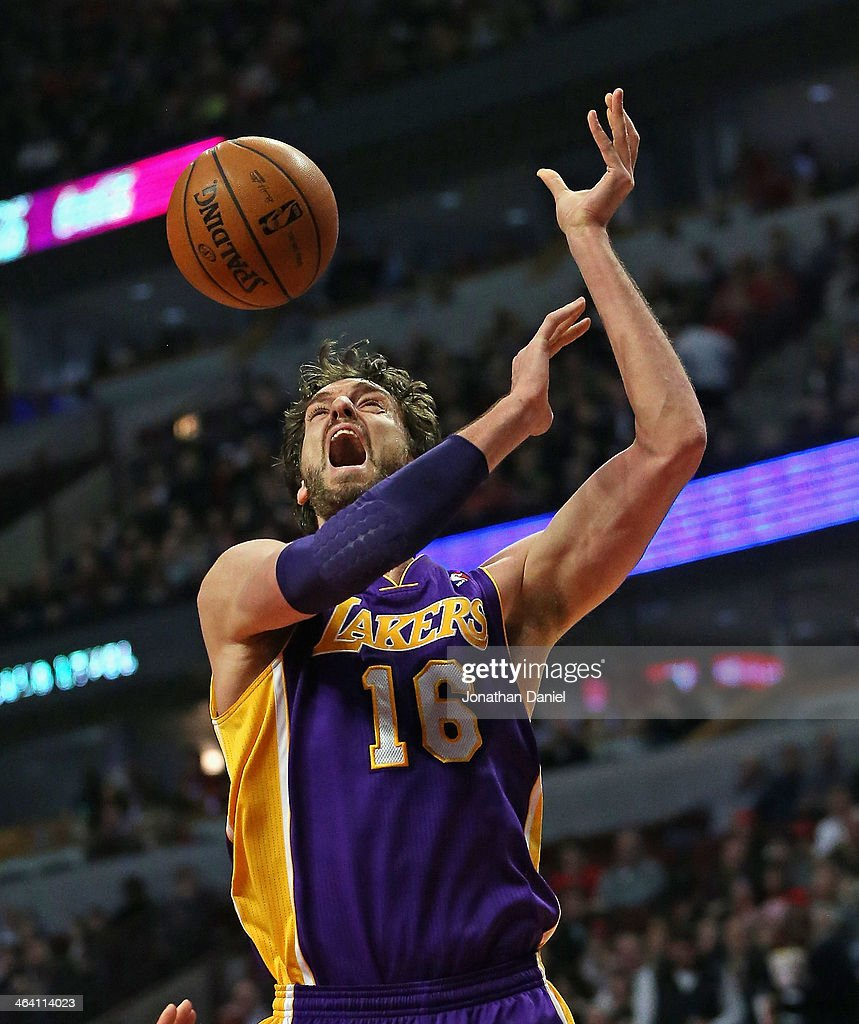 Pau Gasol #16 of the Los Angeles Lakers reacts after being fouled and loosing the ball against the Chicago Bulls at the United Center on January 20, 2014 in Chicago, Illinois.