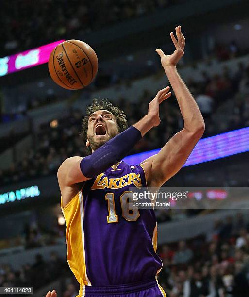 Pau Gasol of the Los Angeles Lakers reacts after being fouled and loosing the ball against the Chicago Bulls at the United Center on January 20 2014...