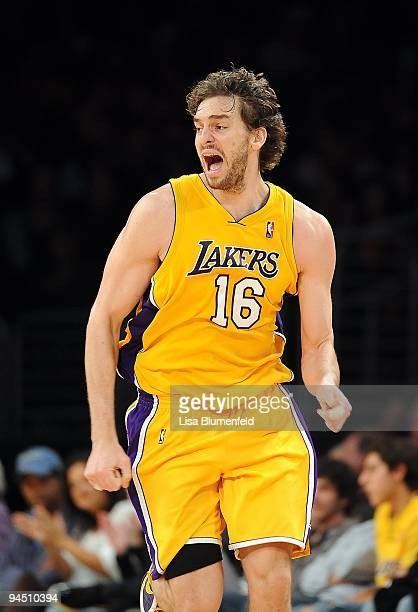 Pau Gasol of the Los Angeles Lakers reacts during the game against the Minnesota Timberwolves at Staples Center on December 11, 2009 in Los Angeles,...
