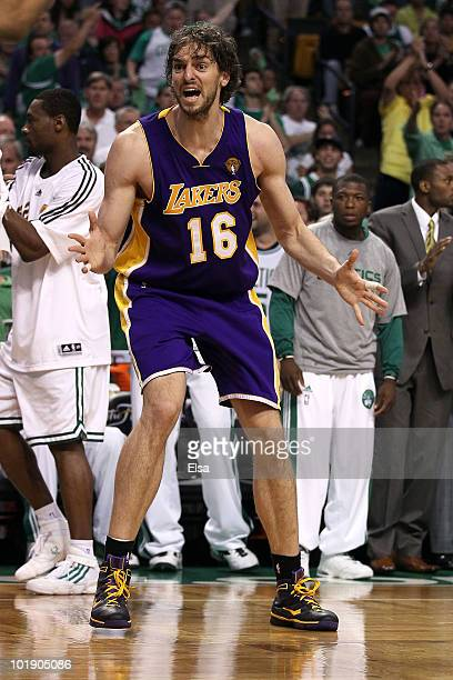 Pau Gasol of the Los Angeles Lakers reacts in the second half against the Boston Celtics in Game Three of the 2010 NBA Finals on June 8 2010 at TD...