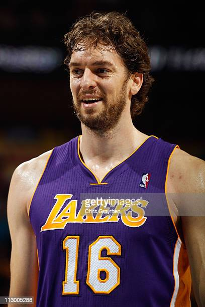 Pau Gasol of the Los Angeles Lakers reacts to a play during the game against the New Orleans Hornets in Game Three of the Western Conference...
