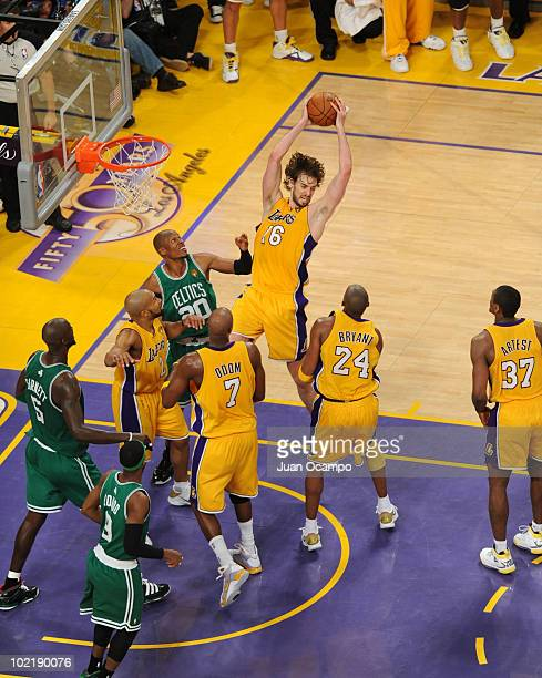 Pau Gasol of the Los Angeles Lakers rebounds against the Boston Celtics in Game Seven of the 2010 NBA Finals on June 17, 2010 at Staples Center in...