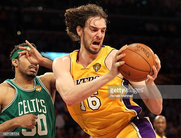 Pau Gasol of the Los Angeles Lakers rebounds the ball in front of Rasheed Wallace of the Boston Celtics in the first quarter of Game Six of the 2010...