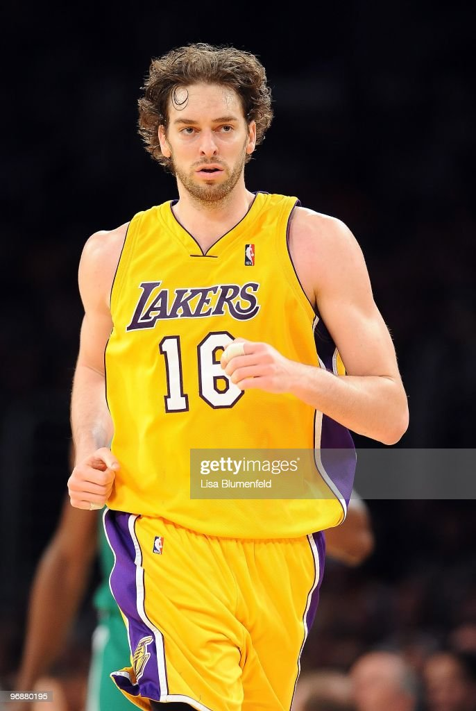 Pau Gasol #16 of the Los Angeles Lakers runs upcourt during the game against the Boston Celtics at Staples Center on February 18, 2010 in Los Angeles, California.