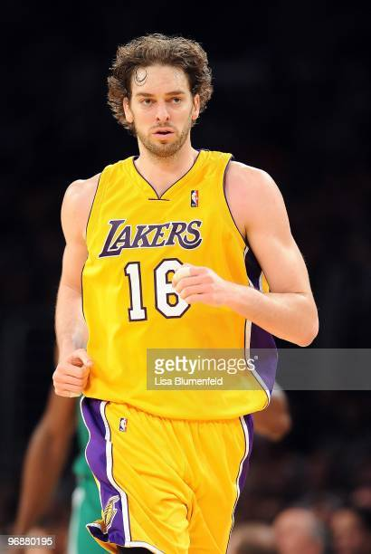 Pau Gasol of the Los Angeles Lakers runs upcourt during the game against the Boston Celtics at Staples Center on February 18, 2010 in Los Angeles,...