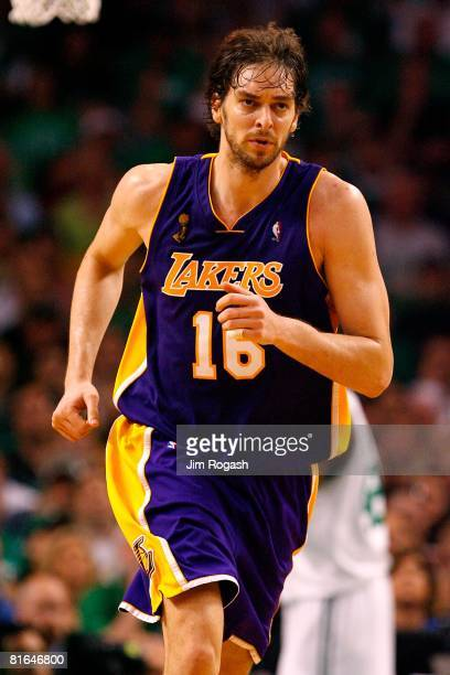 Pau Gasol of the Los Angeles Lakers runs upcourt in Game Six of the 2008 NBA Finals against the Boston Celtics on June 17, 2008 at TD Banknorth...