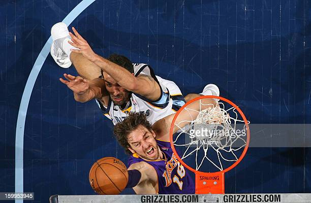 Pau Gasol of the Los Angeles Lakers shoots against Hamed Haddadi of the Memphis Grizzlies on January 23 2013 at FedExForum in Memphis Tennessee NOTE...