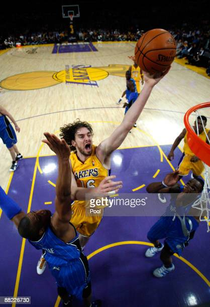 Pau Gasol of the Los Angeles Lakers shoots over Tony Battie of the Orlando Magic in Game One of the 2009 NBA Finals at Staples Center on June 4 2009...