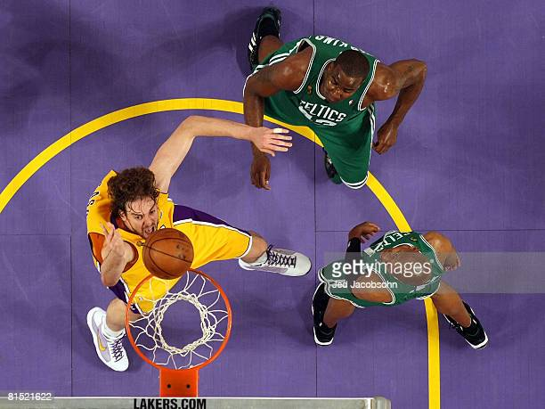 Pau Gasol of the Los Angeles Lakers shoots the ball as Ray Allen and Kendrick Perkins of the Boston Celtics watch in Game Three of the 2008 NBA...