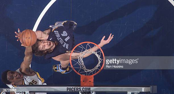 Pau Gasol of the Memphis Grizzlies battles Ike Diogu of the Indiana Pacers at Conseco Fieldhouse on January 2 2008 in Indianapolis Indiana The...