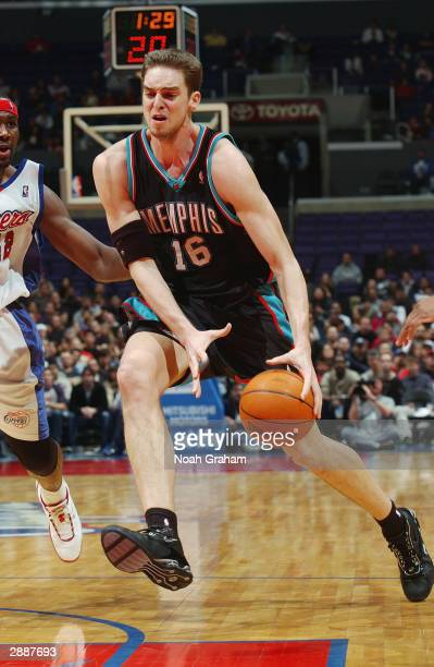 Pau Gasol of the Memphis Grizzlies dribble drives to the basket against the Los Angeles Clippers during the game at Staples Center on January 11 2004...