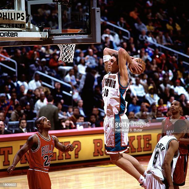 Pau Gasol of the Memphis Grizzlies goes up for a slam dunk during the 2003 got milk Rookie Challenge Game during the 52nd AllStar Weekend at the...