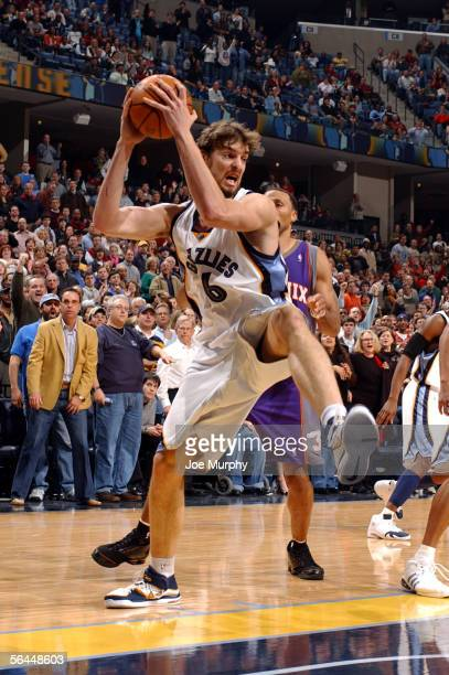 Pau Gasol of the Memphis Grizzlies pulls down a rebound during a game between the Phoenix Suns and Memphis Grizzlies on December 17 2005 at...