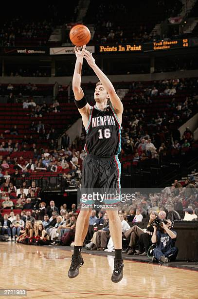 Pau Gasol of the Memphis Grizzlies puts a shot up during the game against the Portland Trail Blazers on November 5 2003 at the Rose Garden Arena in...