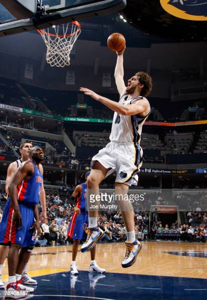 Pau Gasol of the Memphis Grizzlies shoots a layup in a game against the Detroit Pistons on December 11 2007 at the FedExForum in Memphis Tennessee...