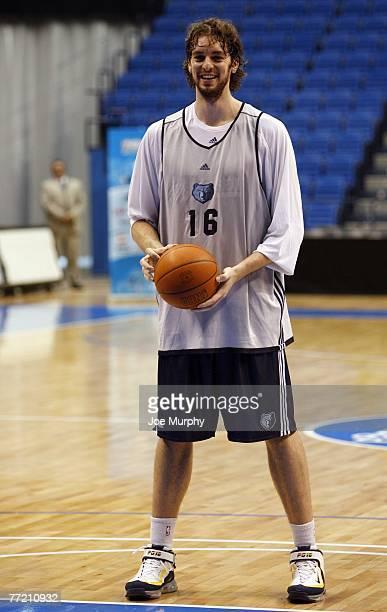 Pau Gasol of the Memphis Grizzlies smiles during practice during EA Sports NBA Europe Live Tour at Palacio de Deportes de Malaga on October 6, 2007...