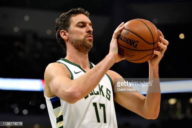 Pau Gasol of the Milwaukee Bucks during the game against the Indiana Pacers at Fiserv Forum on March 07, 2019 in Milwaukee, Wisconsin. NOTE TO USER:...