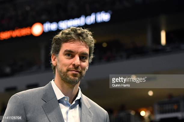 Pau Gasol of the Milwaukee Bucks looks on in the second half against the Brooklyn Nets at Fiserv Forum on April 06, 2019 in Milwaukee, Wisconsin....