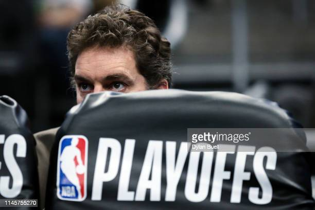 Pau Gasol of the Milwaukee Bucks looks on in the third quarter against the Boston Celtics during Game One of Round Two of the 2019 NBA Playoffs at...