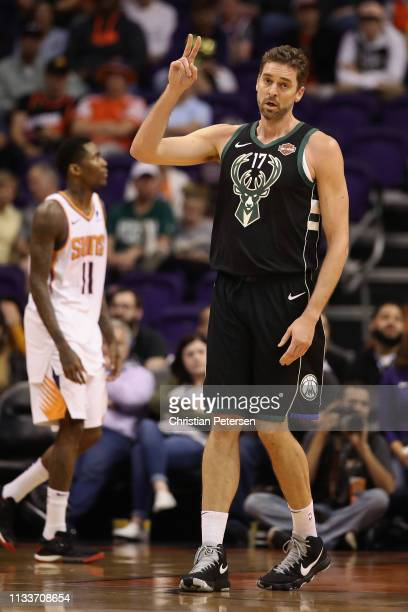 Pau Gasol of the Milwaukee Bucks reacts during the first half of the NBA game against the Phoenix Suns at Talking Stick Resort Arena on March 04,...
